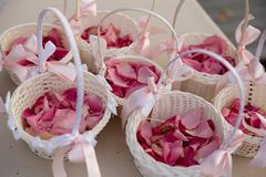 Wedding Setup decoration during Reception - Tender pink and white color - Outdoor petals stock photography