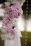 Wedding Setup decoration during Reception - Tender pink and white color - Outdoor royalty free stock photo