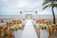 Wedding setup detail on the beach. Stock Photo