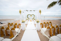 Wedding setup detail on the beach. Royalty Free Stock Images