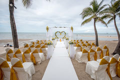 Wedding setup detail on the beach. Royalty Free Stock Image