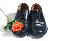 Wedding shoes. Men wedding shoes with red rose Stock Image
