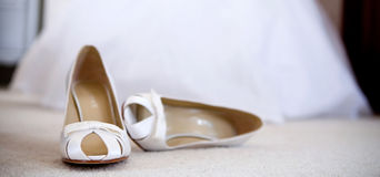Wedding shoes. Wedding shoe on a carpet Royalty Free Stock Photography