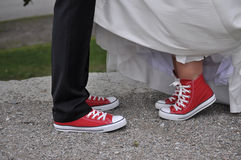 Wedding shoes. Bride and groom wedding shoes Royalty Free Stock Image
