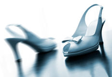 Wedding shoes. Detail of wedding shoes in blue toned Royalty Free Stock Photos