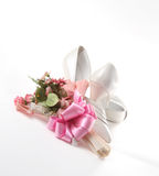 Wedding Shoes. With flowers on a white background Stock Photos