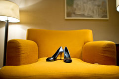 Wedding shoes. On the Sofa Stock Photography