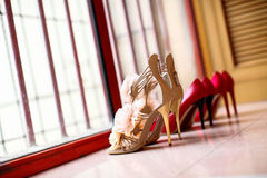 Wedding shoes. Beside the window Royalty Free Stock Photos