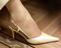 Wedding Shoes. Photo of a wife's wedding Shoes stock photos