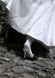 Wedding shoes. The image of a dress and shoe of the bride Stock Photography