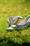 Wedding  Shoes. On the grass in sunshine Stock Images