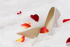 Wedding Shoes And Rose Petails Royalty Free Stock Photo