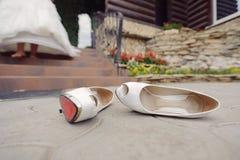 Wedding Shoes on Asphalt Stock Photography