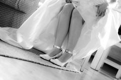 Wedding shoes. Black and white wedding brides shoes Royalty Free Stock Photos