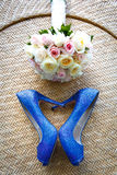 Wedding shoes and the bouquet, Love Heart. Royalty Free Stock Images