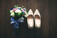 Wedding rings bouquet marriage white bride stock images