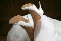 Wedding shoes of the bride close up Stock Image