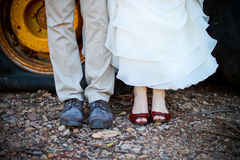 Wedding shoes. Bride and groom's wedding shoes, vintage is the in-style Royalty Free Stock Photo