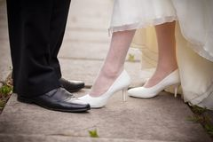 Wedding Shoes bride and groom. Summer park white black Stock Images