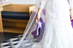 Wedding shoes. Bride's shoes, beautiful stylish shoes Royalty Free Stock Photos