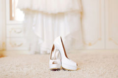 Wedding Shoes on Carpet Royalty Free Stock Photos