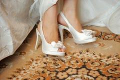 Wedding Shoes on Carpet Stock Photos