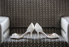 Wedding Shoes. Classic wedding shoes on a neutral background Stock Image