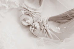 Wedding shoes close-up Royalty Free Stock Photo