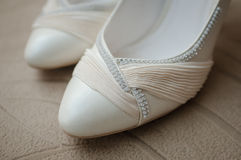 Wedding shoes. Closeup of beautifully decorated bridal wedding shoes Royalty Free Stock Images