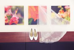 Wedding shoes on a colored background stock images