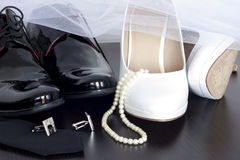 Wedding shoes. Concept on the shelf Stock Images