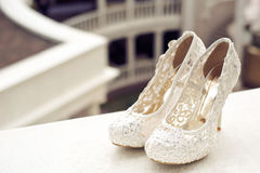 Wedding shoes cream color Stock Images