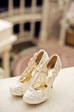 Wedding shoes cream color Stock Image
