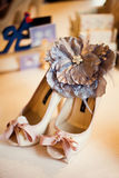 Wedding shoes. With grey flower Stock Photo