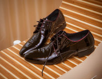 Wedding shoes of the groom Stock Images
