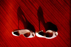 Wedding shoes. On the ground beside the window Royalty Free Stock Photography