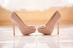 Wedding Shoes High Heels. And lace Stock Image