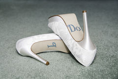 Wedding Shoes -I Do Sequins Stock Images