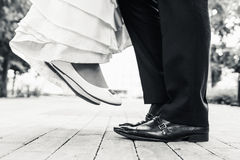 Wedding Shoes In Standing And Flying Of Couple Stock Images