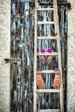 Wedding shoes. On a ladder Royalty Free Stock Photography