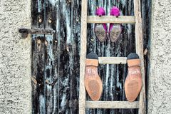 Wedding shoes. On a ladder Stock Photography