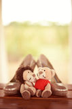 Wedding shoes with lion and lioness toy Stock Photography