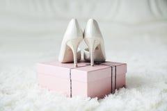 Wedding shoes. Lying on a box stock photo