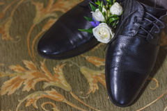 Male Wedding shoes. Wedding shoes for men on the background of the bed, the window Stock Images