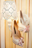 Wedding shoes. With pink bow Royalty Free Stock Photography
