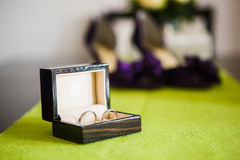 Wedding shoes and rings Stock Image