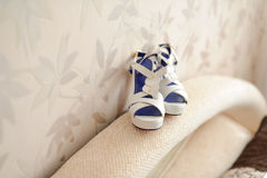Wedding Shoes on Sofa Royalty Free Stock Photo