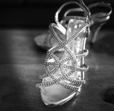 Wedding Shoes. Taken in black and white Stock Image