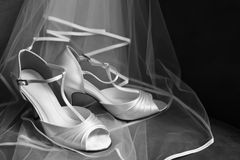 Wedding shoes and veil Royalty Free Stock Image