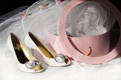 Wedding shoes, veil and box Royalty Free Stock Photo